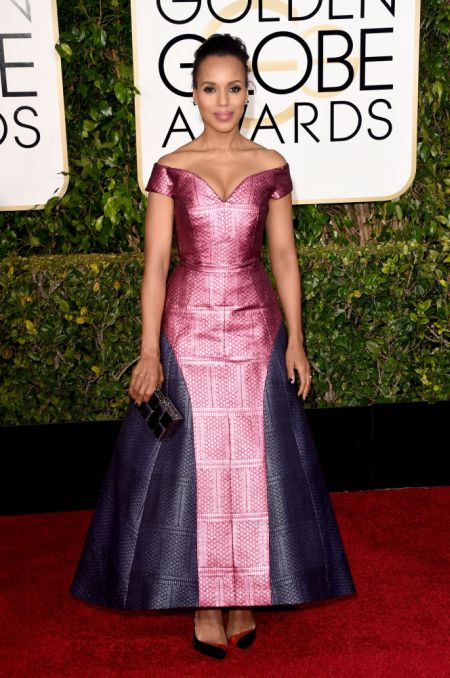 Kerry Washiongton Marty Katrantzou ruhában a Golden Globe gálán, 2015